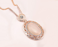 F06988 Necklace Jewelry Fashion Long Design oval Chain Necklace with Opal and Rhinestone for Women + Free Shipping