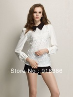 2014 Spring New Fashion Brand  Womens  Plus size Solid Lace Long sleeve Vintage Shirt / Blouse / Blusas  for women  Freeshipping