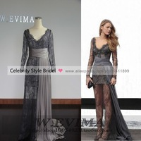 2014 New Real Sample Picture Gray Lace Long Sleeves Sexy prom dresses Evening Dresses For Sale