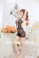 Lady Sexy Black Lace Bare-Chested Tempting Transparent Lingerie Babydoll Nightgown Sleepwear Night Skirt +G-string Free Shipping