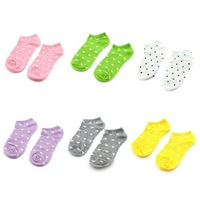 Hot Women Peach Heart Printing Cotton Sock Slippers Candy Color 72216-20