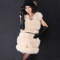 2013Korean autumn winter luxury fashion medium-long faux fur waistcoat imitation fox fur vest sleeve jacket women S/M/L/XL D2157