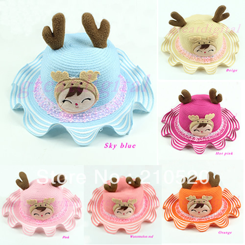 1PC Lovely Children Summer Sun Hats Cute Smile Face Animal Deer Ear Shape Beach Straw Hat 6 Colors(China (Mainland))