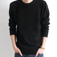 Autumn male slim sweater male sweater thickening o-neck sweater solid color sweater black