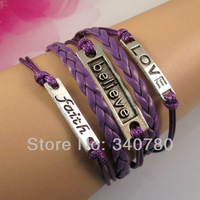 new 2013 bracelets & bangles items,bracelet metal,faith,believe,love,for lovers,purple Leather Cords bracelet C014