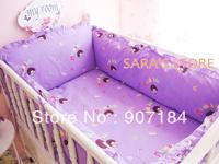 Purple Color Cute Pattern Baby Bedding piece Set 100%Cotton crib 5 pieces set baby bedding set 5pcs 120*70CM