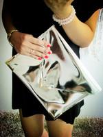 New arrival fashion handmade women's hologram laser silver handbag with Sequined bronzier envelope clutch bag bag female metal