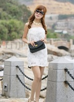 2013 New Women's Sweet Rose Flower Embellished Off Shoulder Slim Bow Belt Back Dress Pink/White