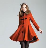 2014  New Women's Vogue Detachable Fur Collar Multi Ways Wear Coat Brown/Black/Orange S M L