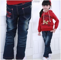 Retail!! Free shipping 2013 cartoon style children Fashion pink girls jeans