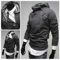 Cool Men Fuzzy Hooded Button Zipper Collar Sport Coat Deep Grey HD13021702-2 Sent from Russia