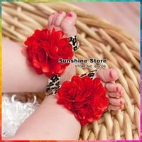 Sunshine store #2B2067 10 pair/lot (leopard)Newborn print Girl red cheetah satin mesh prewalker shoes BABY Barefoot Sandals CPAM
