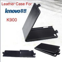 2014 New k900 Free Shipping Original Lenovo K900 Leather smart flip Case Lenovo K900 Case