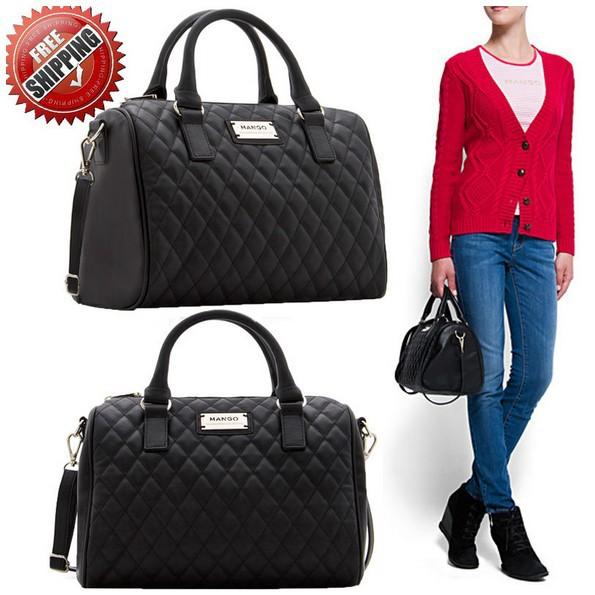 2013 New black PU women leather handbag plaid bag MANGO bag women messenger bag(China (Mainland))