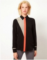 Color Matching Buttons Design Long Sleeves Blouse Black CS13070402-1 Sent from Russia