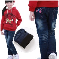 Free shipping!Hotsale 2013 New Arrival Girls Jeans Winter Brand Children Jean Pants Brand Thickening Warm Trousers Kids Clothing