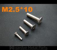 2.5*10 M2.5*10 DIN7991 Stainless steel flat head countersunk CSK socket cap screw 500pcs/lot Free shipping
