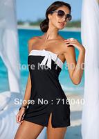 2015 New Arrive Hot Women Mini dress swimwear sexy brand bikini cover up With Bow summer beachwear  Black White