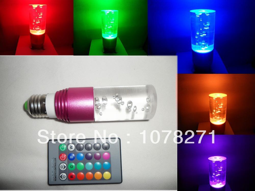 3w e27 de 16 colores rgb led de luz de magia bombilla de la lámpara + 24 teclas de control remoto
