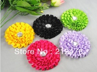15PC big ribbon Cabbage Rhinestone Rose Flower Appliques/sewing pick color