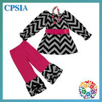 Boutique baby clothing set chevron baby girl garments suit black  chevron clothes with hot pink ruffle pants 12sets/lot
