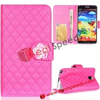 Rhombus Stand Leather Diamond Flowers Case for Note 3 Galaxy N9000 N9002 N9005 with Card Slots ( 6 Colors, 5 PCS/LOT)