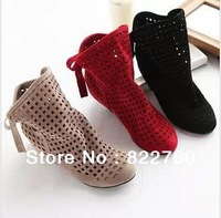 women  summer  cool  boots, cut-outs  grind arenaceous  bowknot  Roman shoes flat  sandal  big yards 3 color