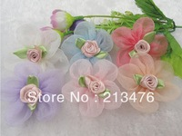 30pcs Organza Ribbon Flower W/Rose Appliques Craft Wedding U pick
