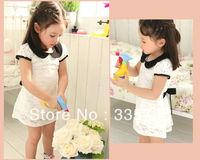 2014 New Summer kid Bowknot belt princess dress Korean version of the beautiful lace princess dress girl doll collar dress