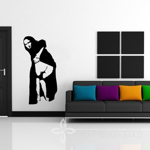 Free Shipping DIY Banksy Mona Lisa Mooning Home Art Decor Decal Mural  Wallpaper Wall Sticker Abstract Wall Art For Home 56*112cm