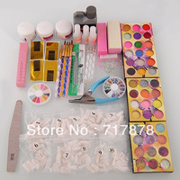Nail Art Kit Set DIY Acrylic Powder Glitter Rhinestones Brush Sanding File Tips Free shipping