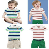 brand name polo baby boys cotton striped polo t-shirt + shorts suit summer fashion cool kids casual suit children's clothing