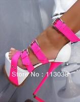 2013 New Design Women Sexy Brand Pink White Leather Gladiator Sandals High Heel Beautiful Platform Sandals
