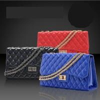 New arrival bags female genuine leather female bags black sheepskin dimond plaid messenger  bags