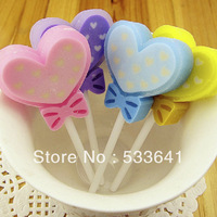 Wholesale mini order $10 (mix order) free shipping creative carton candy love heart lolipop Eraser / pen rubbers 4 colors