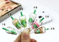 High quality Lovely Starbucks coffee cup earphone Jack Plug Dustproof for for iphone 4 4G 4S 5G mobile phone