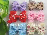 18pcs Grosgrain/Lace Ribbon Bow Dot Appliques Craft Wedding