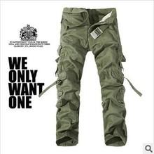 2014 nuevos hombres de carga pantalones verdes del ejército gris negro grandes bolsillos decoración Casual fácil lavado masculinas otoño los pantalones El envío libre P1309(China (Mainland))