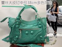 Medium 38cm giant hip lace series genuine leather motorcycle women's handbag messenger bag bolsas girls designer branded bags