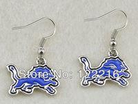 Free shipping 10pair a lot fashion rhodium plated Detroit Lions  charm sport dangle earrings