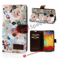 Flowers and Pure Jeans Cloth Leather Wallet Cover for Note 3 Galaxy N9000 N9002 N9005 with Credit Card ( 4Colors, 10 PCS/LOT)