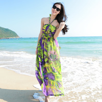 High quality green flower two-color racerback halter-neck formal dress one-piece dress full dress beach full dress female
