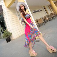 2014 female summer bohemia one-piece dress ruffle tube top full dress beach dress