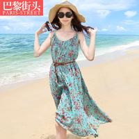 Summer plus size one-piece dress full dress mm beach dress full dress beach resort floral print dress