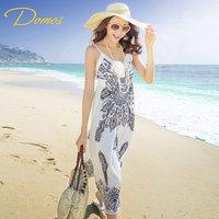 Bohemia full dress slim spaghetti strap vacation beach dress one-piece dress