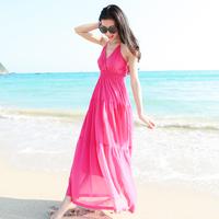 Women's bohemia one-piece dress spaghetti strap full dress expansion bottom beach dress solid color chiffon full dress
