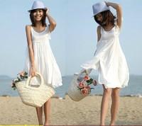 2014 summer one-piece dress beach dress sweet doll white vest one-piece dress
