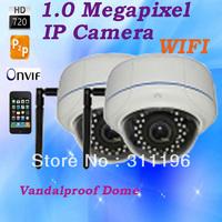 WIFI Vandalproof Dome IP Security Camera High Definition 1280*720P CMOS with IR CUT P2P Cloud Web Surveillance Camera