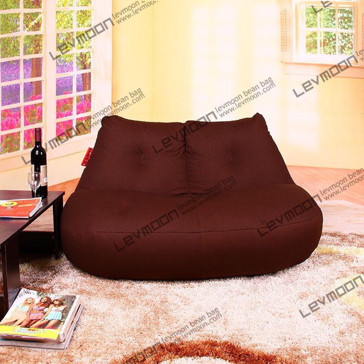 FREE SHIPPING coffee beanbag chair modern loveseat 100% cotton canvas fabric bean bag chair bean bag furniture Double Sofa(China (Mainland))