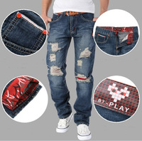 Fashion Men jeans Stylish Straight Slim Fit Trousers Casual brand Jean Pants ripped blue jeans for man 100% cotton free shipping